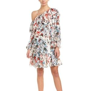 Parker Asymmetric Sleeve Floral Mini Dress